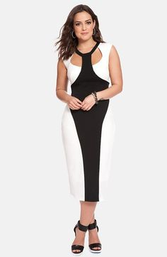 c4fe668fc91b7 ELOQUII Colorblock Midi Dress (Plus Size) (Nordstrom Exclusive) available  at  Nordstrom