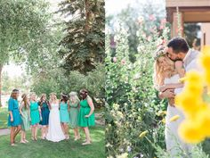 Ivinson Mansion Wedding in Downtown Laramie Wyoming by wedding photographer, Megan Lee photography.- Wyoming Garden Wedding Bridesmaids in Green and Blue  See more on the blog!