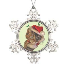 Santa Kitty with Holly Ornaments
