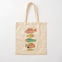 Printed Tote Bags, Cotton Tote Bags, Reusable Tote Bags, Fashion Room, Vintage Designs, Shopping Bag, Digital Prints, Cotton Fabric, Fish