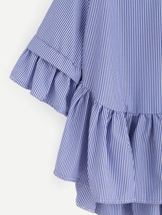 Shop Blue Striped Criss Cross Back Ruffle Blouse online. SheIn offers Blue Striped Criss Cross Back Ruffle Blouse & more to fit your fashionable needs. Curvy Dress, Fabric Manipulation, Blouse Online, Blue Stripes, Criss Cross, Blouses For Women, Bell Sleeve Top, Ruffle Blouse, Gowns