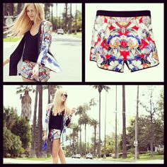Photo by shop_obaz peace love and shea fashion bloggers floral tropical  shorts on oBaz