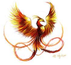 Nice phoenix tattoo design in fire colors