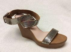 "Stuart Weitzman Brown Leather 5"" Wedges Wrap Around Size 10.5M Silver Bling | eBay"