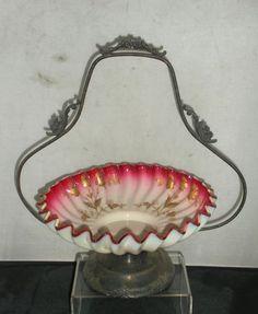Antique 1890s Silver Plate PEACHBLOW Art Glass BRIDES BOWL Basket Webb -Kralik