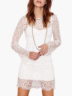 Long Sleeve Layered Lace White Dress - Milanoo.com