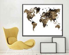 World map poster world map print large world map home and living map world map poster world map art world map print world map wall art sepia print gumiabroncs Image collections