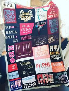 Pi Beta Phi tshirt quilt craft- definitely going to make this for me out of my GSS shirts when I graduate! Sigma Lambda Gamma, Alpha Omicron Pi, Pi Beta Phi, Alpha Chi Omega, Alpha Sigma Alpha, Phi Mu, Sorority Crafts, Quilting, College