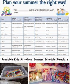 Kids At-Home Summer Camp Schedule – Printable Template – A Pretty House Rocks – … - Summer Diy Kids Summer Schedule, Summer Camps For Kids, Summer Activities For Kids, Summer Kids, Indoor Activities, Kid Activities, Summer Camp Themes, Kids Camp, Summer Games