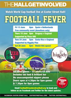 Live World Cup footie in the hall starts 13 June 7.30pm Book now - first match free - donations only.