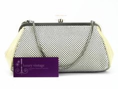 Whiting&Davis Clutch Beige/White Metal Mesh Good Condition Ref.code-(KSES-5) More Information Or Price Pls Email  (- luxuryvintagekl@ gmail.com)