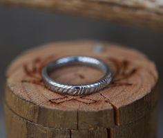 Women's Stacking Band Featuring Damascus Steel. Handcrafted by Staghead Designs.