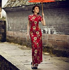 chinese traditional golden lotus flower red tapestry satin brocade silk fabric one yard for diy Oriental Fashion, Asian Fashion, Cheongsam Dress, Cheongsam Wedding, Traditional Dresses, Chinese Clothing Traditional, Ao Dai, Silk Fabric, Asian Beauty
