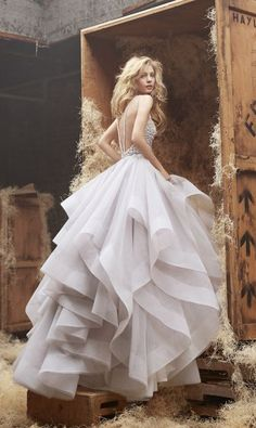 Alabaster tulle bridal gown with halter high neck alabaster and crystal bodice, full horse hair flou
