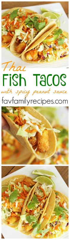 My new favorite way to make fish tacos. The slaw and spicy peanut sauce are sooo good!!!