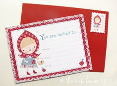 Little+Red+Riding+Hood+Invitations+Set+of+8++blank+por+TheInkHouse,+$12.00