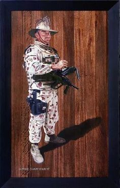A sergeant major of the cavalry. Oil on hardwood. Australian Army Collection.