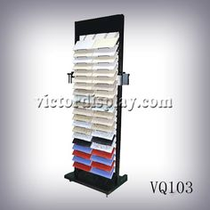 "VQ103 Neolith tile tower display rack factory-Xiamen Victor Industry & Trade Co., Ltd .  the stone display rack with strong iron stucture and high stardard powder coated surface. Capacity: 42COlors. Sample size: 12*12"" Logo can be printed."