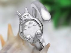 925 Sterling Silver MY NEIGHBOR TOTORO Adjustable Ring