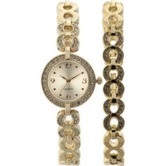 Women's Crystal-Accented Round Gold-Tone Watch and Bracelet Set