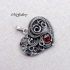 Spring promotion 15 off Silver pendant heart wire by GaleriaM