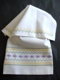 Spring Huck Towel Kit|Huck Embroidery Kit|Swedish Weave Kit|Stitch On It Direct