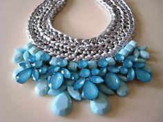 Handmade necklace pink & light blue gems by GlowFashionJewellery