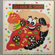 Sandylion+Scratch+and+Sniff+Smelly+PIZZA+Stickers+Retro+Rare+Vintage+SF10