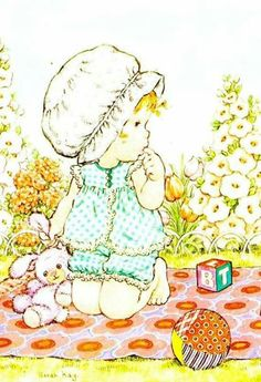 Vivien Kubbos's art of Sarah Kay Mary May, Sweet Pic, Holly Hobbie, Cartoon Pics, Cute Characters, Copics, Cute Illustration, Vintage Children, Painting Inspiration