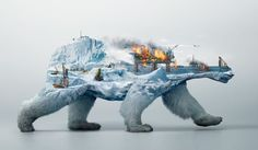 Destruction Of Wildlife Illustrated in Clever double exposure ads