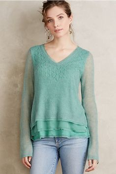 There are a dozen or more reasons why I wouldn't buy this sweater, but it's so preeeeeetty.  Chiffon-Hem Pullover #anthropologie