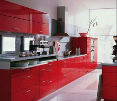 Red cabinets white floors