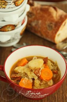 Rustic Cabbage Vegetable Soup Recipe #Fall #ChunkySoup #ComfortFood