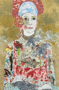 Maria BerrioFlor, 2013Collage with Japanese paper and watercolors on canvas via Praxis International Art