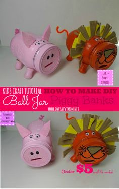 Kids Craft Tutorial: How To Make DIY Ball Mason Jar Piggy Banks. Could be done with empty bottles too I guess Baby Food Jar Crafts, Pig Crafts, Mason Jar Crafts, Mason Jar Diy, Crafts To Do, Baby Jars, Baby Food Jars, Easy Crafts For Kids, Diy For Kids