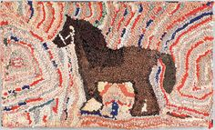 Price: 533.00 American hooked rug depicting a horse, late 19th c., 22 1/2 x 38 1/2.