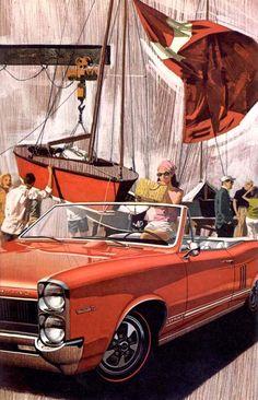 66 Pontiac Tempest Illustrations Poster, Car Illustration, Pontiac Tempest, Automotive Art, Automotive Group, Car Advertising, Car Posters, Car Drawings, Us Cars