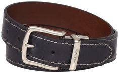 Tommy hilfiger 38mm reversible jean belt with with contrast stitch and dull nickle buckle