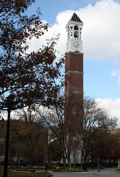 The distinctive Bell Tower on the campus of Purdue University in West Lafayette, Indiana.