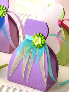 Fairy Favor Boxes by SoInviting on Etsy Diy And Crafts, Arts And Crafts, Paper Crafts, Diy Gift Box Template, Tinkerbell Party, Diy Box, Favor Boxes, Party Favors, Diy Party