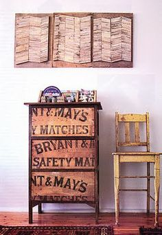 drawer fronts from old boxes with graphics - in a kitchen!!!