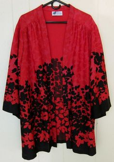 Women's Size 5X Top Notch Red & Black Open Front Kimono Sleeves Top #TopNotch #OpenFront