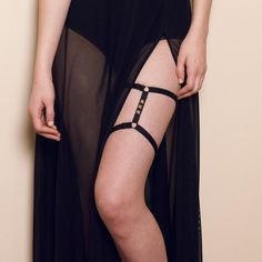 Image of Black Studded 'Alex' Garter Cage Frame