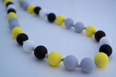 FREE SHIPPING! Silicone Teething Necklace in Buzz. Mummy jewellery that baby can chew.FREE on Etsy, £20.00