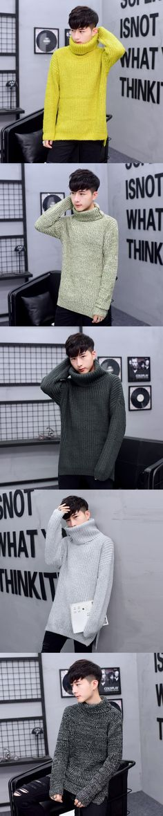 Envmenst 2017 Autumn Winter Thick Homme Solid Long Sweaters Men knitwear Men's tops Turtleneck Knitted Pullover