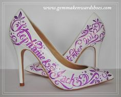Hand painted purple and silver wedding shoes.JPG