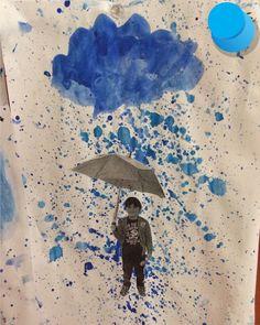 Sulu boya sıçratma yağmur çalışması Okul Öncesi