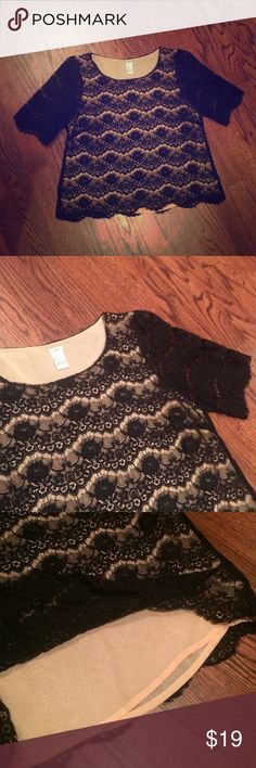 {Forever 21} black lace crop top Sz M Brand is Forever 21 (I Love H81) and size is medium. This is in mint condition. Black lace crop top with nude lining. Sleeves are not lined. Very cute. Very stylish. Forever 21 Tops Crop Tops