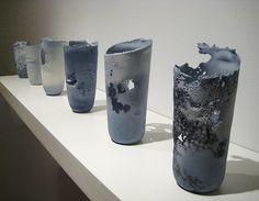 Thomas Schmidt Ink and Salt Series 2009 Cast Porcelain, Soluble Salts, Ceramic Decals Ceramic Decor, Ceramic Clay, Ceramic Painting, Ceramic Plates, Porcelain Ceramics, China Porcelain, Ceramic Pottery, Schmidt, Vases