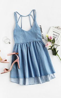 Blue High Low Denim Cami Dress Season : Summer Type : Tunic Pattern Type : Plain Color : Blue Dresses Length : Short Style : Cute Material : Denim Neckline : Spaghetti Strap Silhouette : High Low